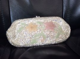 1960's Floral Sequinned Clutch Purse - Beadwork Flowers and Leaves in Soft Pastel Tones (SOLD)